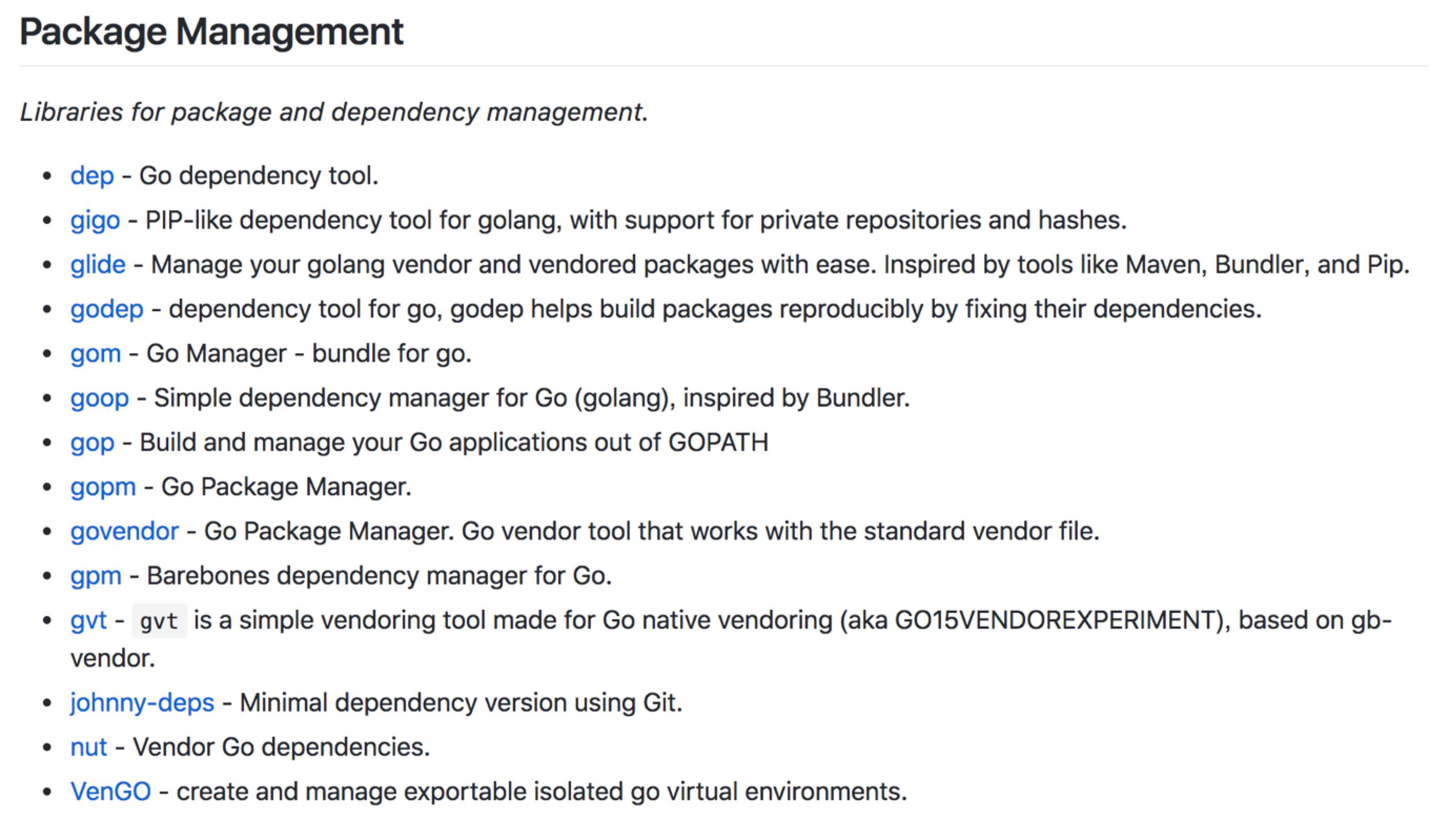 Go 社区的各种第三方包管理工具