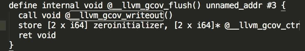 图3 __llvm_gcov_flush 代码示例