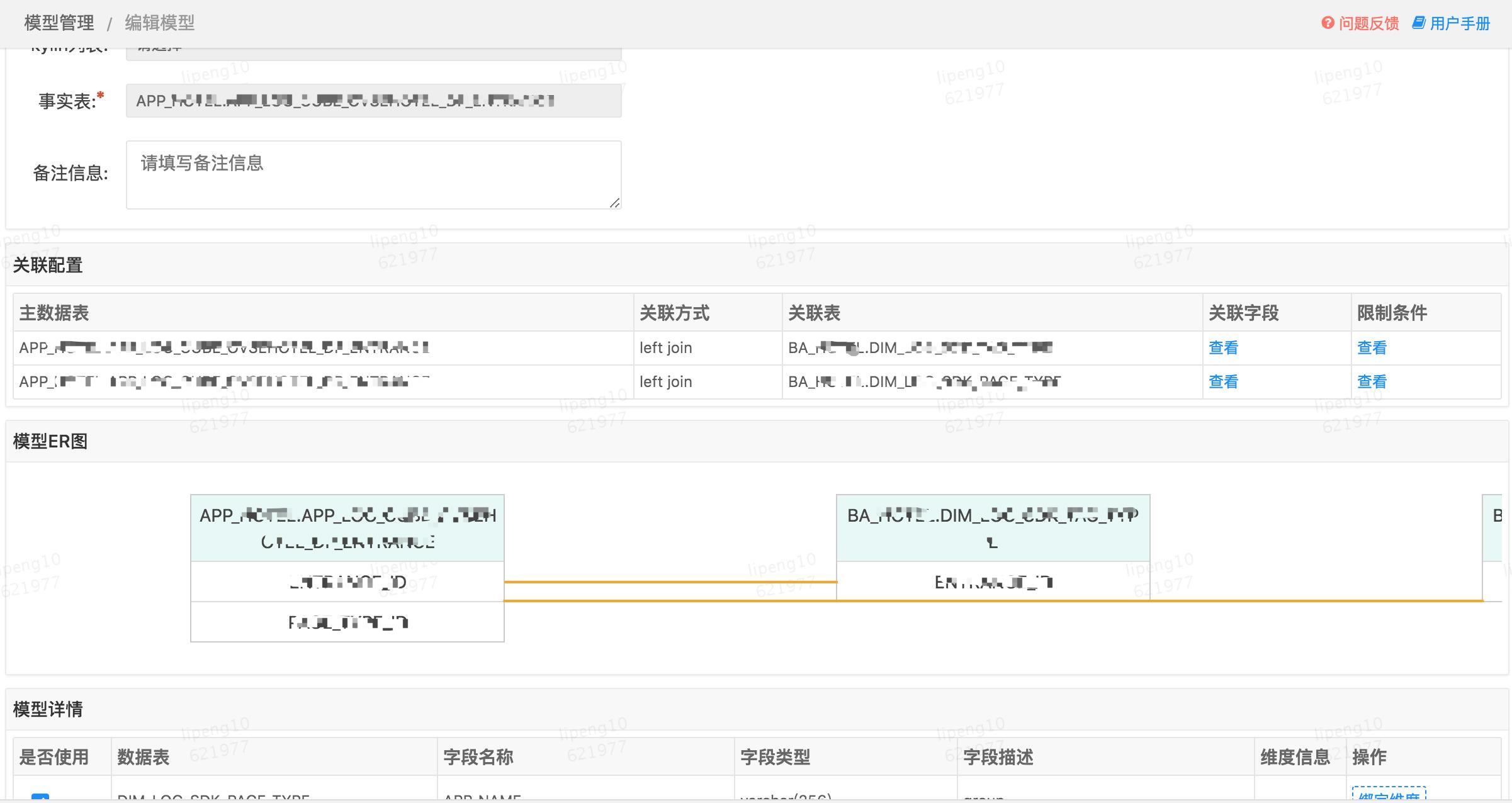 图5 起源数据治理平台数据表模型