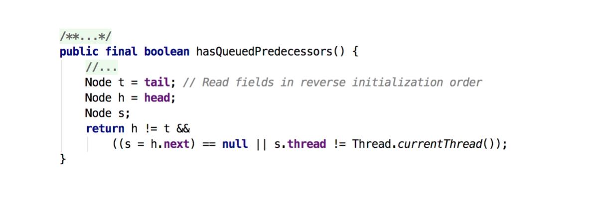hasQueuedPredecessors方法源码