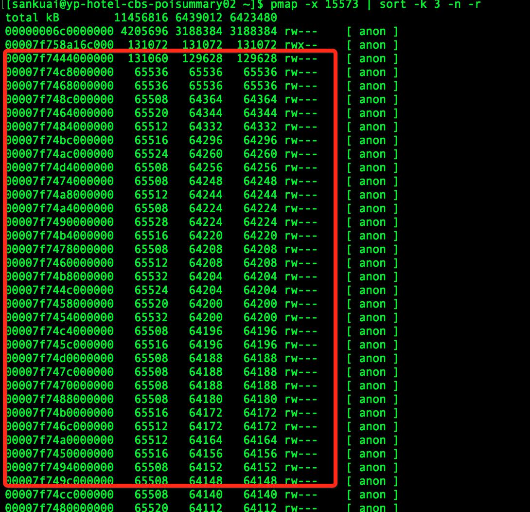 pmap显示的内存情况